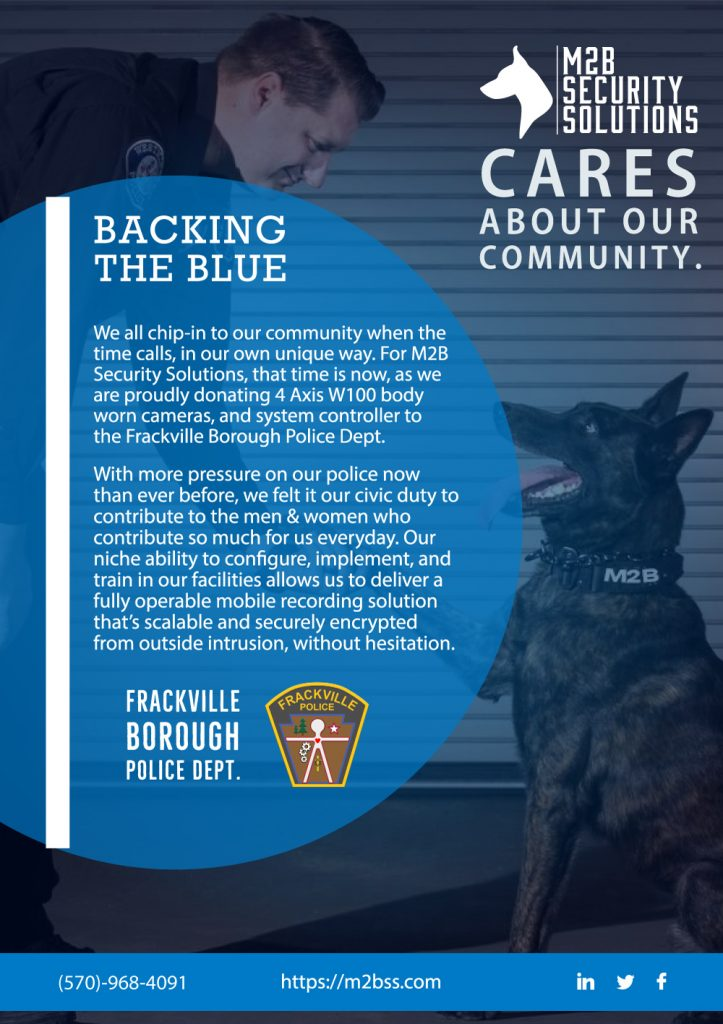 donate img | M2B Donates Body Cams & Controllers to the Frackville Borough Police